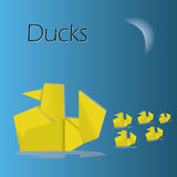 Origami ducks eps10. Origami paper yellow ducks eps10 Royalty Free Stock Photography