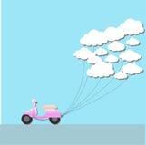 Origami e nuvola del motorino Fotografia Stock Libera da Diritti