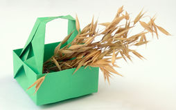 Origami and ears. Origami figure of green basket with ears Royalty Free Stock Photos