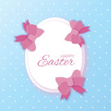 Origami Easter eggs. Paper cut Pink Bow.Happy Easter. Egg Frame. Origami Easter eggs. Paper cut Pink Bow.Happy Easter Greeting card. Egg Frame. Space for text Royalty Free Stock Images