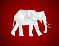 Origami elephant. Origami paper elephant on red. Vector EPS8 Stock Photography