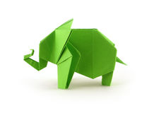 Origami elephant. Green origami elephant on white background Royalty Free Stock Photography