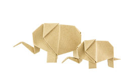 Origami elephant and baby elephant recycle paper Stock Photos