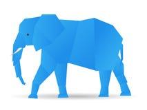 Origami elephant. Origami cute elephant in blue Stock Photo