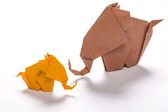 Origami elephant family in white background 3 Royalty Free Stock Images