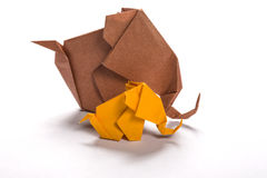 Origami elephant family in white background 2 Stock Images