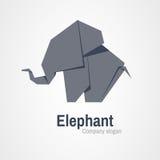 Origami elephant logo. Gray elephant logo made up of paper Stock Photo