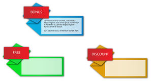 Origami etykietki z tytułem - trzy koloru Zdjęcie Stock