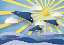 Origami fait dauphin et bateau à voile flotter sur la mer avec Orig illustration de vecteur