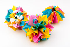 Origami figures nippon paper art home made Royalty Free Stock Image