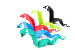 Origami figures of snake Stock Photo