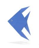 Origami fish. Blue origami fish isolated on white background Stock Images