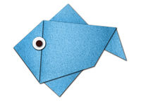 Origami fish made of paper. On white background Royalty Free Stock Photography