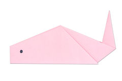 Origami fish out of the pink paper isolated on white Stock Photo