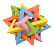 Origami Five Intersecting Tetrahedron. Paper origami Five Intersecting Tetrahedron colored Stock Photography