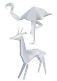 Origami_flamingo_roe. Illustration of folded paper models  a flamingo and  a roe Royalty Free Stock Image