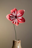 Origami Flower. Pink Origami Flower in a Vase with Wire Stem stock images
