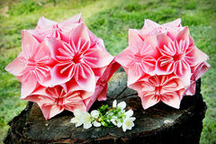 Origami flower balls in pink color Stock Photo