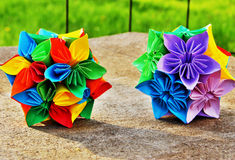 Origami flower balls in vibrant colors Royalty Free Stock Photos