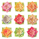 Origami flower pattern. 9 isolated origami flowers on a pure white background Stock Photos