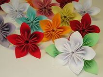Origami flowers. Beautiful origami flowers isolated on white background, kusudama Stock Photography