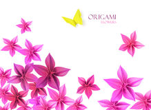 Origami flowers. Origami paper flowers bottom decoration whith a butterfly Stock Photography