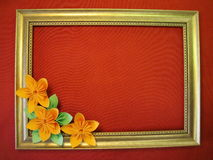 Origami flowers and frame Royalty Free Stock Images