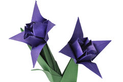 Origami flowers over white Royalty Free Stock Images