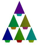 Origami, folded paper Christmas tree isolated on white.Green, re Royalty Free Stock Image