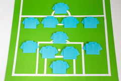 Origami football formation tactics Royalty Free Stock Photos