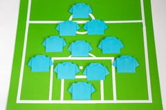 Origami football formation tactics Stock Photography