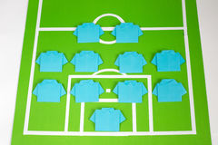 Origami football formation tactics Stock Photos
