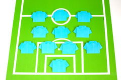 Origami football formation tactics Royalty Free Stock Images