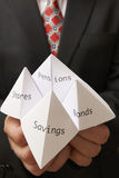 Origami fortune teller. Business man holding paper origami fortune teller with savings,bonds,shares and pensions written on it stock photos