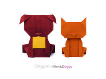 Origami friends dog and cat Royalty Free Stock Image