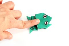 Origami frog Stock Images