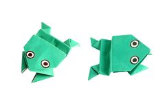 Origami frog in two different positions Royalty Free Stock Photography