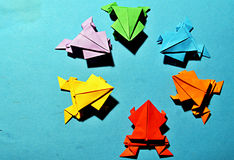 Origami frogs Stock Image