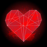 Origami geometric red heart on black background with watercolor splashes Royalty Free Stock Photography