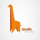 Origami giraffe logo. Logo with orange giraffe folded paper Royalty Free Stock Image
