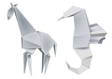 Origami_giraffe_seahorse. Illustration of folded paper models giraffe and seahorse. Vector illustration Royalty Free Stock Photos