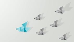 Origami gołębi pokazuje przywódctwo Zdjęcie Royalty Free