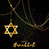Origami golden Star of David. Happy Hanukkah. Stock Image