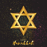 Origami golden Star of David. Happy Hanukkah. Stock Photography
