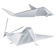 Origami_grasshopper_shark. Illustration of folded paper models grasshopper and shark Stock Photos