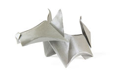 Origami gray dog Stock Image