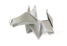 Origami gray dog stock image