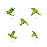 Origami green birds icons set vector illustration. Objects Stock Image