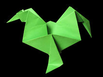 Origami green cock isolated on black Stock Photography