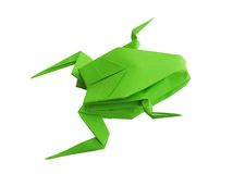 Origami green frog. Isolated on white background Stock Photo